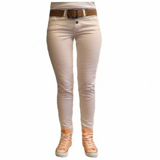 Damen Jeans Hose 5 Pocket Urban Surface Slim Fit Weiß Gr. M