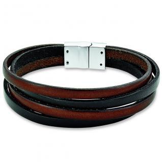 s.Oliver SO1029/1 Herren Armband Edelstahl Leder braun schwarz 21 cm