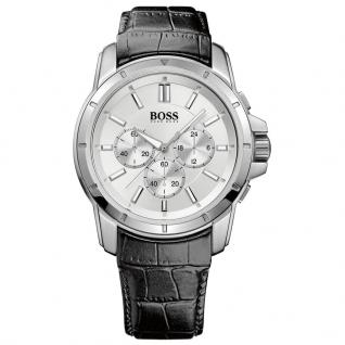 Hugo Boss 1512927 Chronograph Uhr Herrenuhr Lederarmband Schwarz