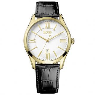 Hugo Boss 1513020 Classic Uhr Herrenuhr Lederarmband Datum Schwarz