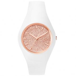 Ice-Watch ICE GLITTER White Rose Gold Small Damenuhr Kautschuk weiß