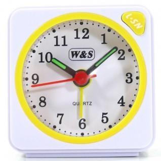 W&S 600104 Wecker Uhr gelb-weiß Analog Licht Alarm