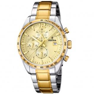 FESTINA F16761/1 Chronograph Uhr Herrenuhr Chrono Datum bicolor