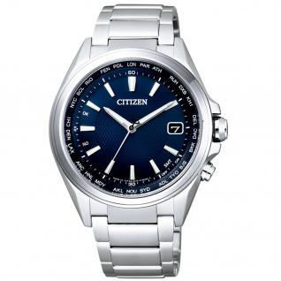 Citizen Elegant Funkuhr Herrenuhr Titan Datum blau