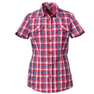 Jack Wolfskin Damenbluse Kurzarm 1400791-7316 Faro Shirt Rot-Blau Gr/L UVP 69, 95