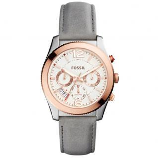 Fossil ES4081 PERFEKT Uhr Damenuhr Lederarmband Datum grau