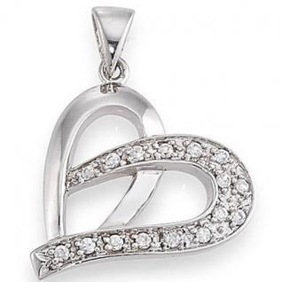 gooix 902-2090 Damen Anhänger Silber Herz mit Zirkonia weiß