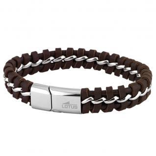 LOTUS LS1740/2/1 Herren Armband Edelstahl Silber braun 21 cm