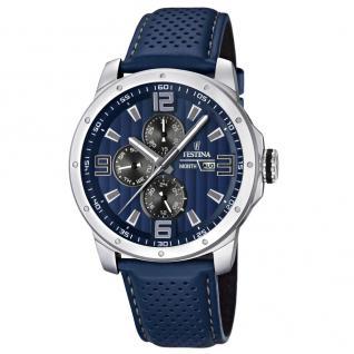 FESTINA F16585/3 SPORT Uhr Herrenuhr Lederarmband Datum blau