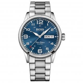 Hugo Boss Pilot Uhr Herrenuhr Edelstahl Datum blau