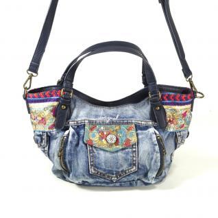 Desigual Bols Ethnic Deluxe Jeans Blau Handtasche Tasche Henkeltasche