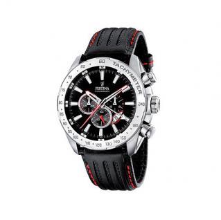 FESTINA F16489/5 SPORT Chronograph Uhr Herrenuhr Lederarmband schwarz