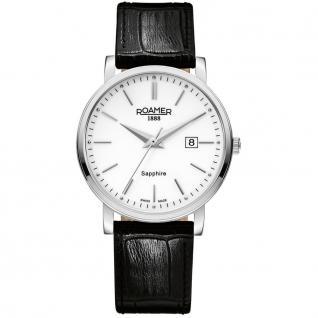 ROAMER 709856 SL1 Classic Line Uhr Herrenuhr Leder Datum schwarz