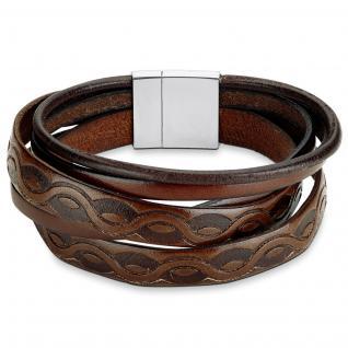 s.Oliver SO1287/1 Herren Armband Edelstahl Leder braun 21 cm