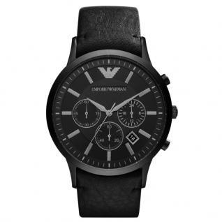 Emporio Armani AR2461 Chronograph Uhr Herrenuhr Leder Datum Schwarz