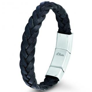 s.Oliver SO682/1 Herren Armband Edelstahl Leder schwarz 21 cm