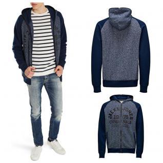 Jack & Jones Herren Sweater 12086126 DINO Sweat Zip Hood Blau Gr. XL