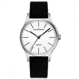 Jacques Lemans Uhr Damenuhr Lederarmband Licht schwarz