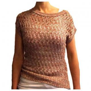 Damen Strickshirt T-Shirt Pullover Sublevel Oversize Rot-Beige Gr. M