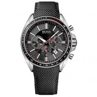 Hugo Boss 1513087 Chronograph Uhr Herrenuhr Lederarmband Datum schwarz
