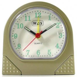 W&S 600101 Wecker Uhr champagner-weiß Analog Licht Alarm