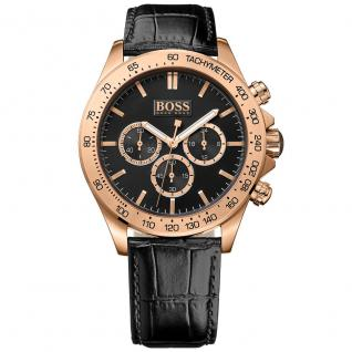 Hugo Boss Ikon Chronograph Uhr Herrenuhr Lederarmband schwarz rosé
