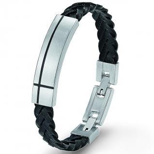 s.Oliver SO126/1 Herren Armband Edelstahl Leder schwarz 21 cm