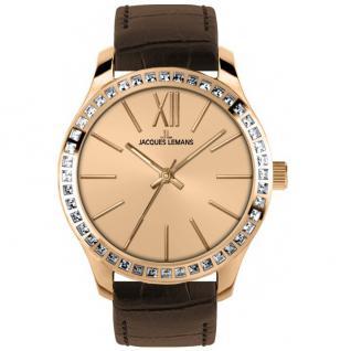 Jacques Lemans ROME Uhr Damenuhr Lederarmband braun Zirkonia