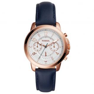 Fossil ES4040 GWYNN Chronograph Uhr Damenuhr Lederarmband Chrono blau