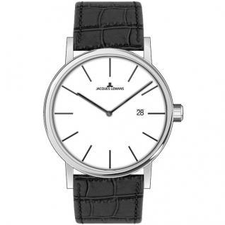 Jacques Lemans 1-1728B Uhr Damenuhr Lederarmband Datum schwarz