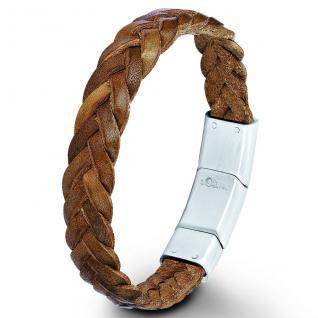 s.Oliver SO552/1 Herren Armband Edelstahl Leder braun 21 cm