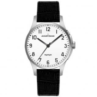 Jacques Lemans 1-1550A Uhr Damenuhr Lederarmband schwarz