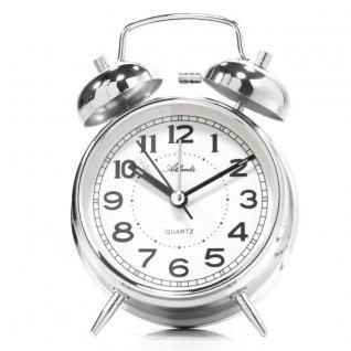 Atlanta 1646-19 Glockenwecker Wecker Analog Licht Alarm silber