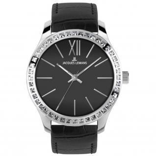 Jacques Lemans ROME Uhr Damenuhr Lederarmband schwarz Zirkonia