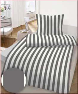 IDO Fein Biber Bettwäsche 2tlg. Grau-Weiß gestreift 135x200 cm