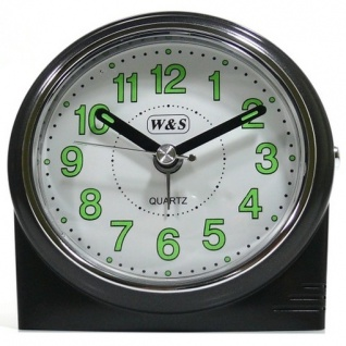 W&S 200901 Wecker Uhr schwarz-weiß leise Sekunde Analog Licht Alarm