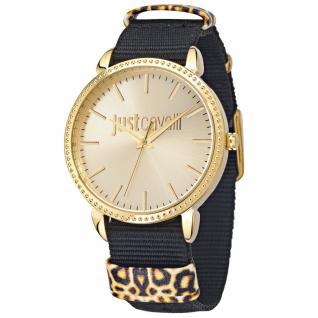 Just Cavalli JUST ALL NIGHT Uhr Damenuhr Stoffband schwarz gold