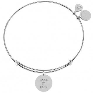 laVIIDA MO2019RH Damen Armband Take it easy Motto Silber silber 19 cm