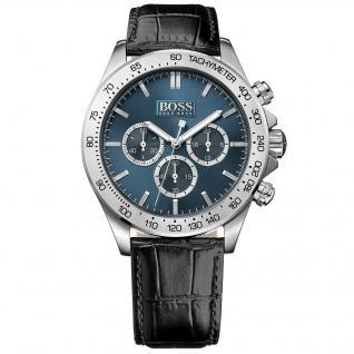 Hugo Boss Ikon Chronograph Uhr Herrenuhr Lederarmband schwarz