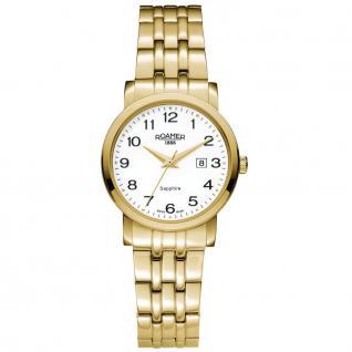 ROAMER 709844 GM1 Classic Line Uhr Damenuhr vergoldet Datum weiß