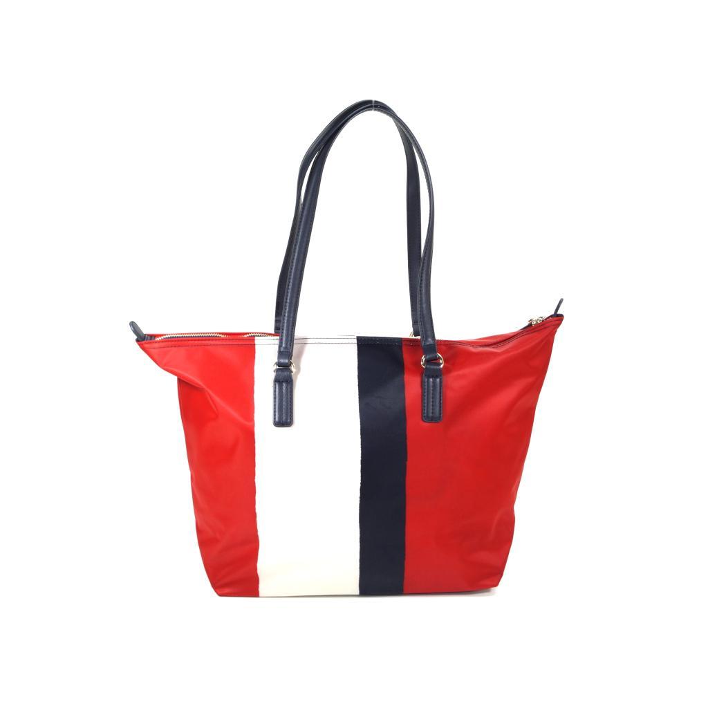 tommy hilfiger poppy tote stripe rot damen handtasche. Black Bedroom Furniture Sets. Home Design Ideas