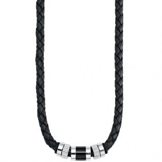 s.Oliver SO688/1 Herren Collier Edelstahl Leder schwarz 48 cm