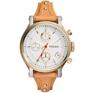 Fossil ES3615 BOYFRIEND Uhr Damenuhr Lederarmband Chrono Datum braun