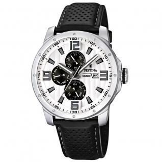 FESTINA F16585/5 SPORT Uhr Herrenuhr Lederarmband Datum schwarz