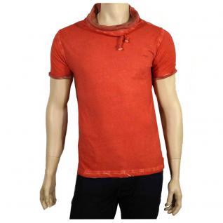 M.O.D Herren T-Shirt Kurzarm mit Schalkragen Shirt Light Lava Rot XXL