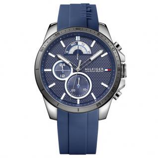 Tommy Hilfiger 1791350 Decker Uhr Herrenuhr Kautschuk Datum blau