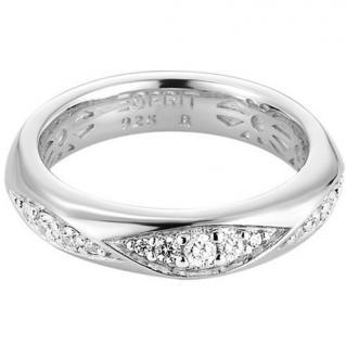 Esprit ESRG91786A Damen Ring Silber wavelet mit Zirkonia weiß besetzt Größe 53 (17, 0 )
