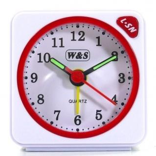 W&S 600104 Wecker Uhr weiß-rot Analog Licht Alarm