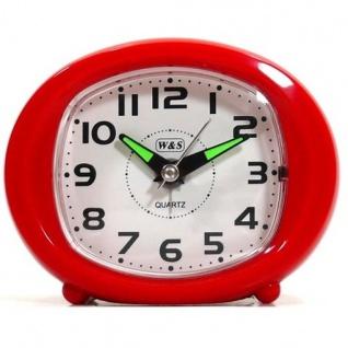 W&S 200604 Wecker Uhr rot-weiß leise Sekunde Analog Licht Alarm
