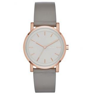 DKNY SOHO Uhr Damenuhr Lederarmband grau rosé